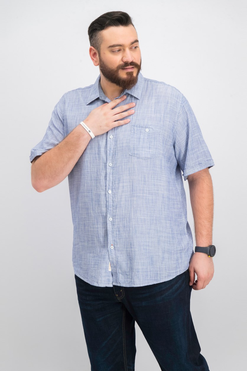 Vintage Men's Textured Shirt, Blue