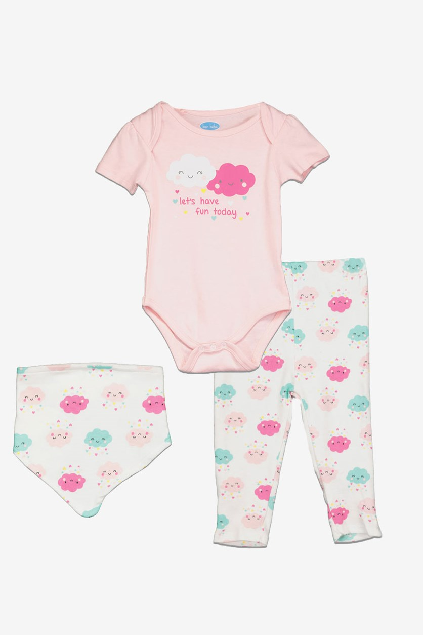 Bon Bebe Baby Girl Lets Have Fun Today  Bodysuit & Legging Set, Pink