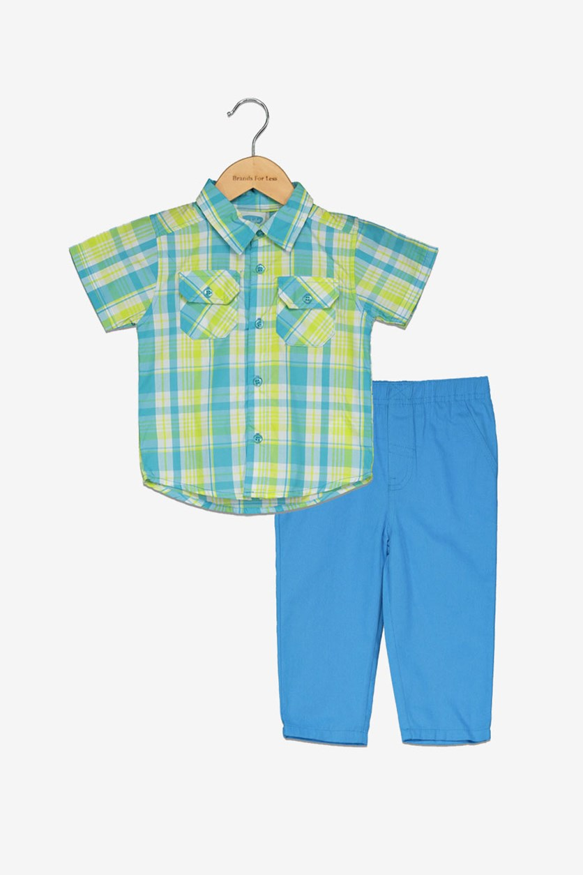Toddler Boy's Plaid Shirt & Pants, Green/Blue