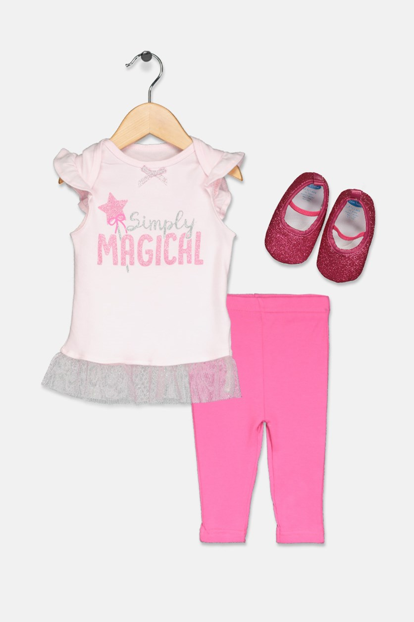 Toddler Girl's 3 Set Shirt & Leggings, Pink