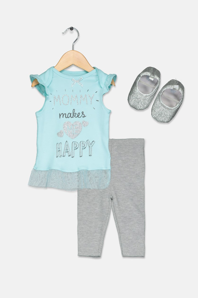 Toddler Girl's 3 Set Shirt & Leggings, Turquoise