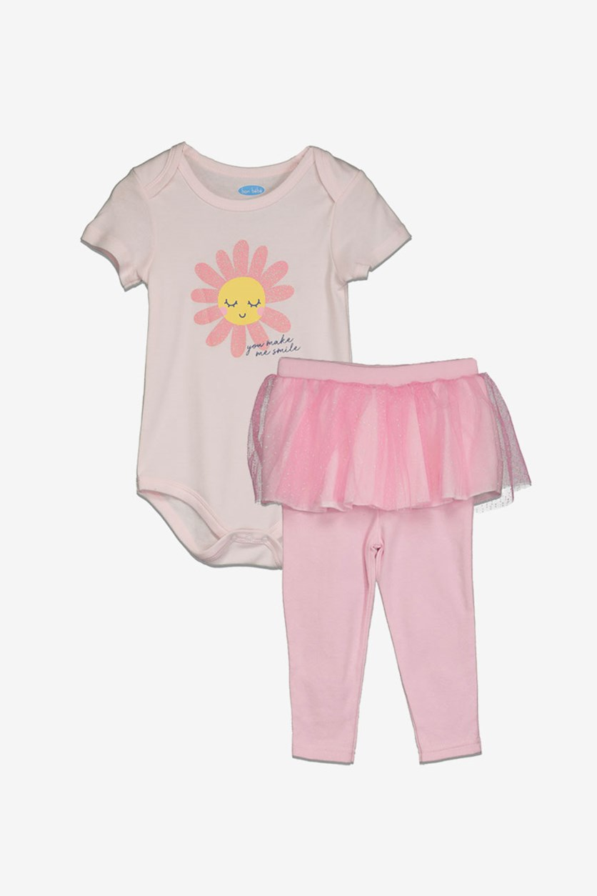 Toddlers Girls 2pc.Short Sleeve Leggings Set, Pink