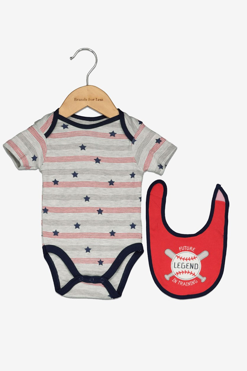 Baby Boys' Bodysuit & Bib Set, Gray/Red