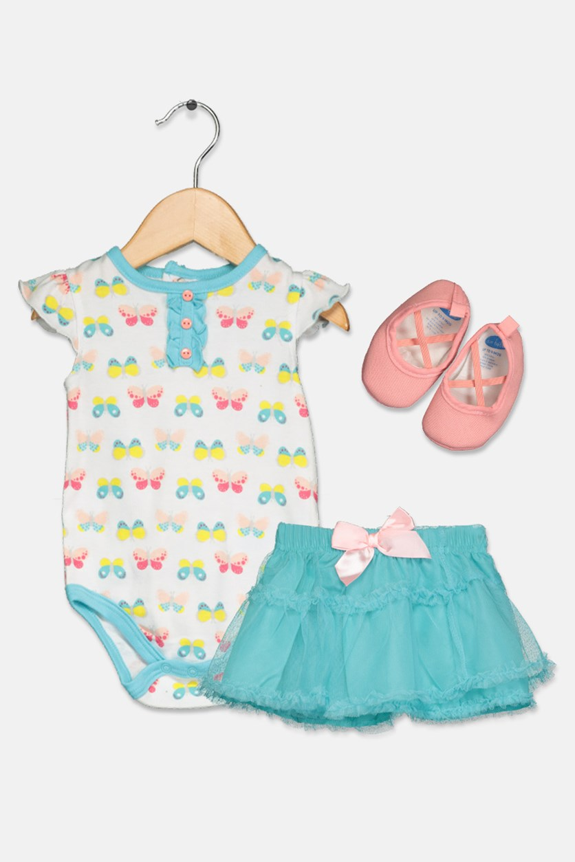 Toddlers Girl's Bodysuit Skirt Set, Turquoise