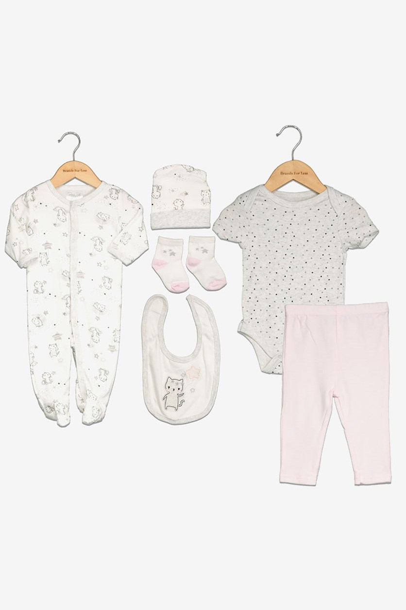Newborn 6 Pc Coverall Bodysuit,Pant & Bib Set, Grey/White