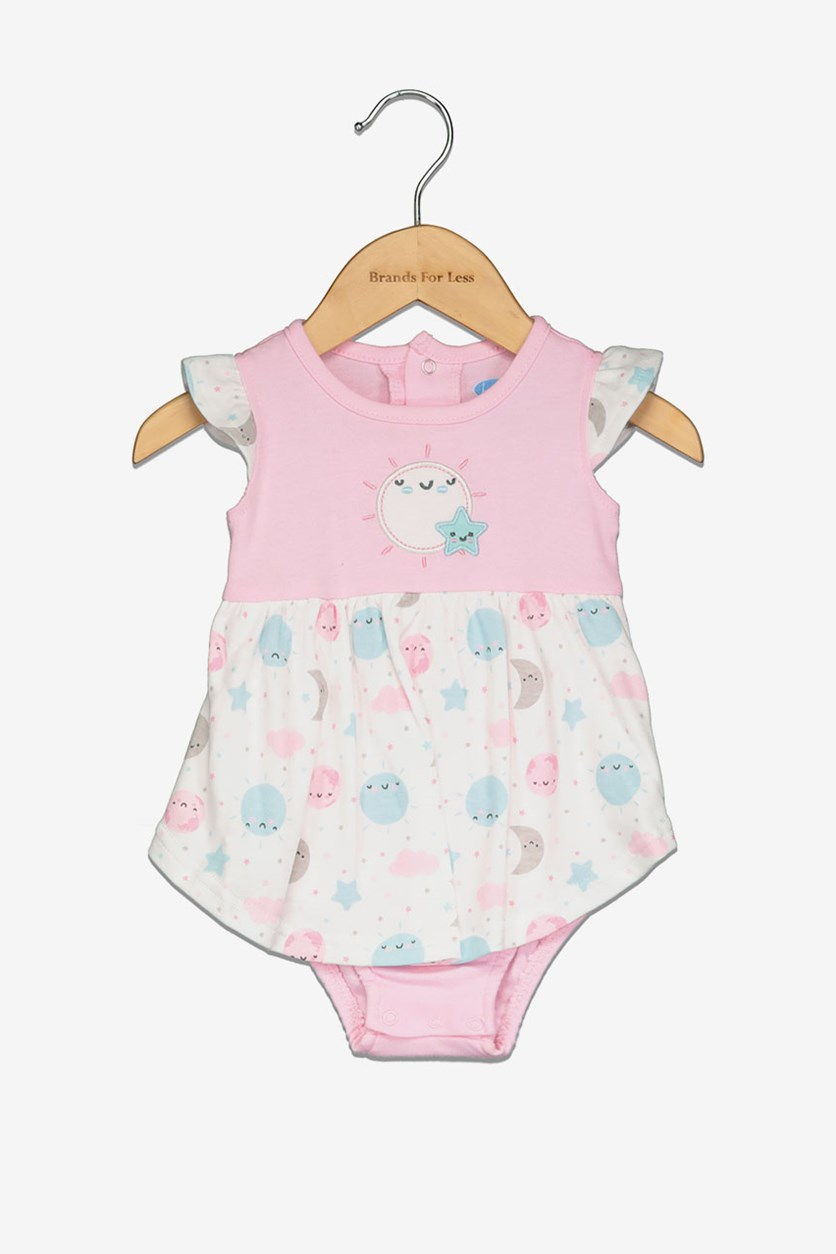 Toddler Girl's Allover Print Romper, Pink