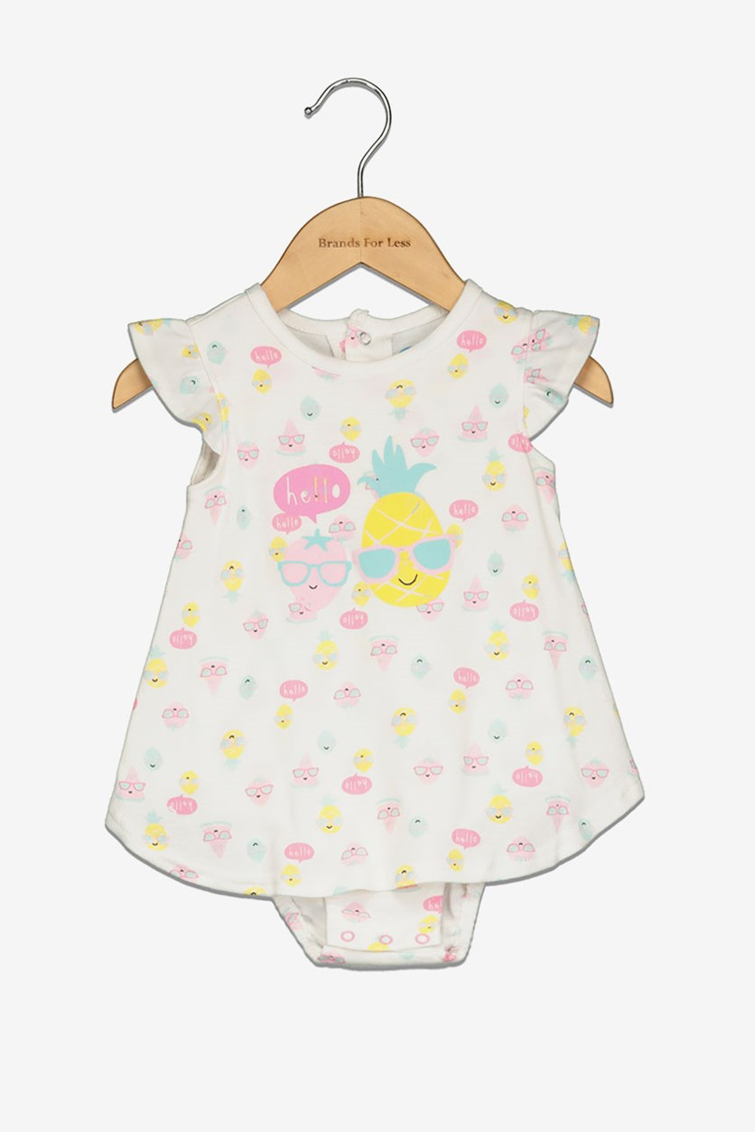 Toddler Girl's Hello Pineapple Print, White