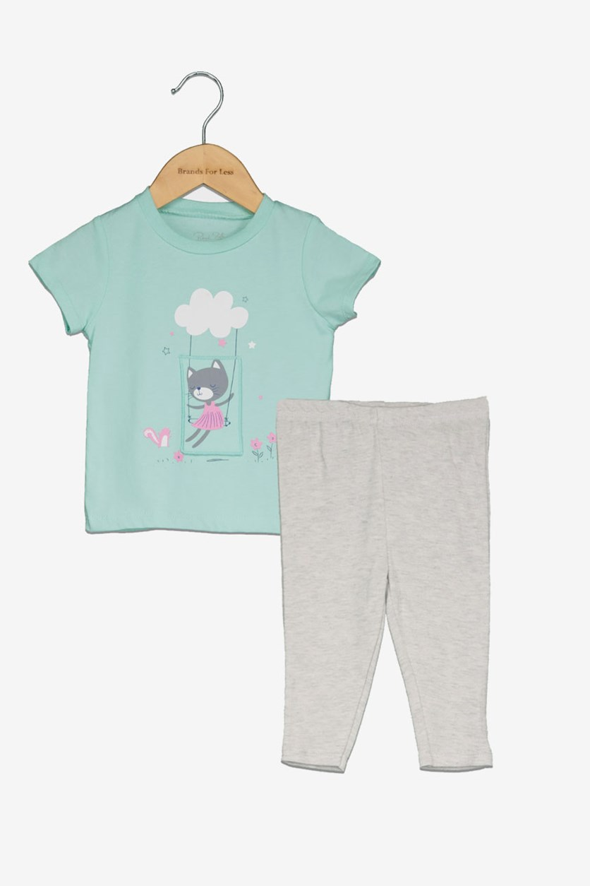 Toddler Girl's Short Sleeve & Leggings, Mint Green/Grey