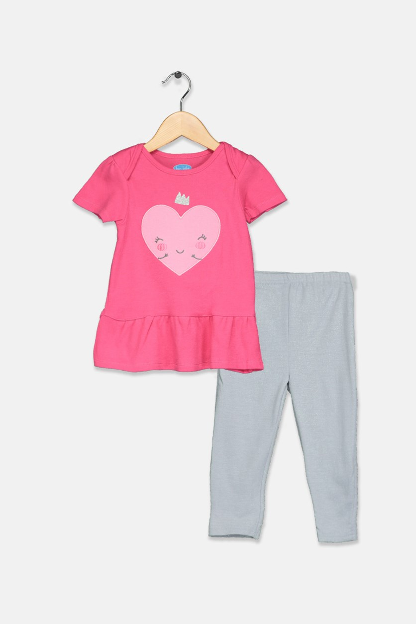 Toddler Girl's Graphic Print Set of 2, Pink/Gray