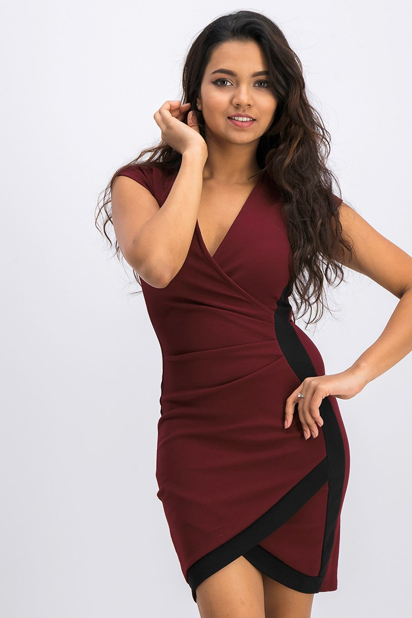 Juniors Framed Wrap Dress, Burgundy/Black