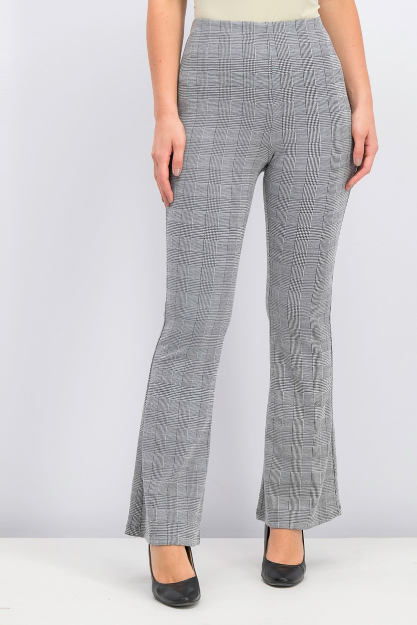 'Plaid Ponte-Knit Flare-Leg Pants, Black/White