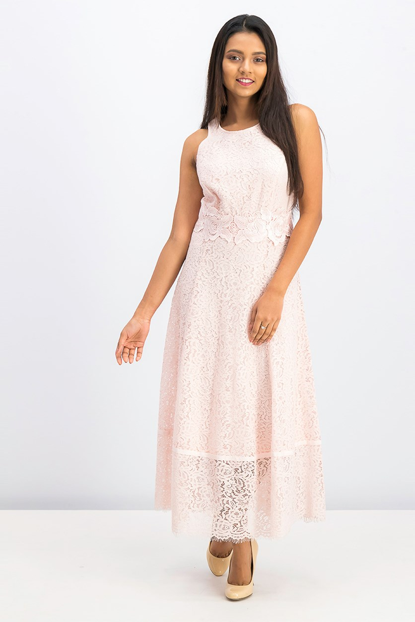 Women's Floral Lace Dress, Pink