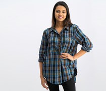 Womens Embroidery Long Sleeve Collared Button Up Top, Blue Plaid