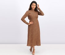 Free People Loveless Printed Open-Back Dress, Mid Cocoa