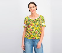 Women's Printed Football T-Shirt, Lemon Floral