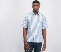 Theory Men Striped Calsual Shirt, Chambray/White