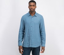 Theory Men's Irving Trim Solid Linen Casual Shirt, Blue