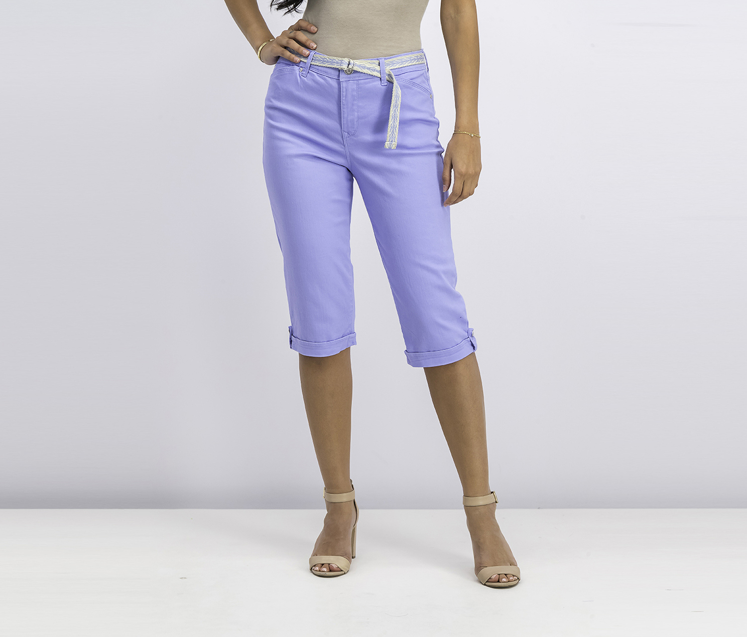 Lillian Spring Twill Belted Skimmer Pants, Hydrangea Blue