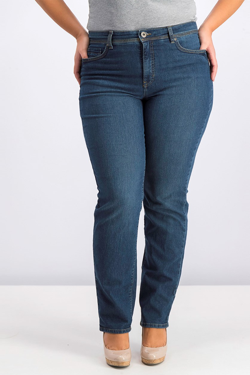 Tummy-Control Straight-Leg Jeans, Astor Wash