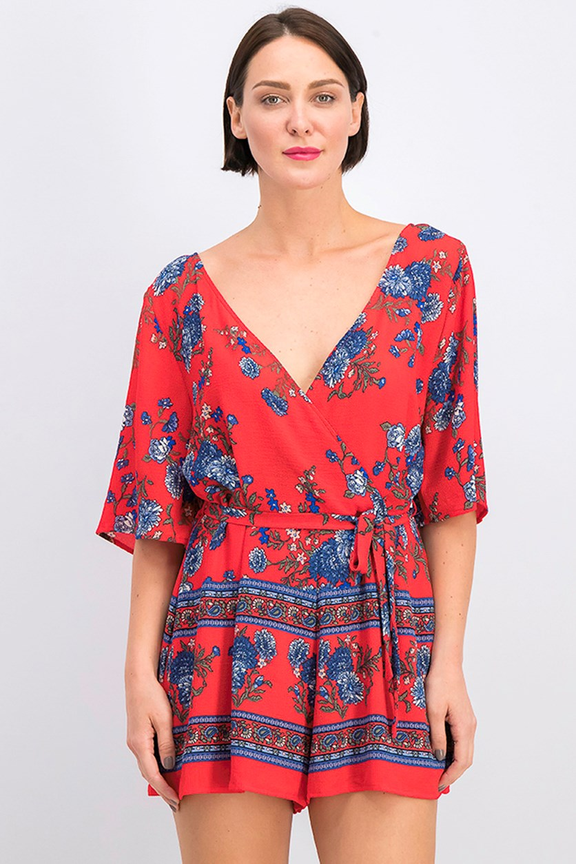 Juniors Border-Print Wrap Romper, Red