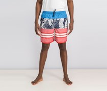 Quiksilver Men's Waterman Jungle Thinking Printed Swim Trunks, Blue/Red Combo
