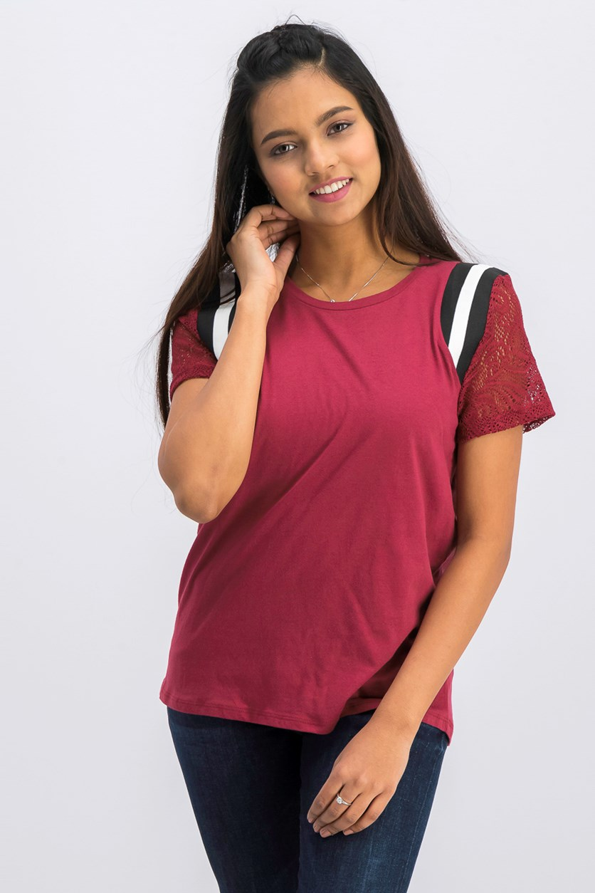 Juniors' Lace-Sleeve Striped-Shoulder Top, Maroon
