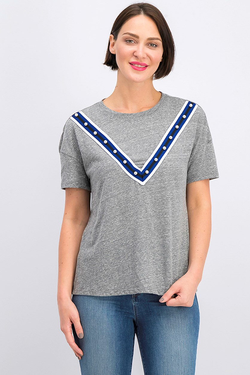 Women's Embellished T-Shirt, Grey Heather