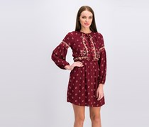 Lucky Brand Border Print Dress, Dark Red
