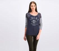Lucky Brand Women's Graphic Print Shirt, Navy Combo
