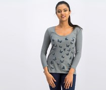 Lucky Brand Butterfly-Print Top, Grey