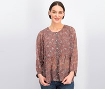 Women's Floral Print Top, Dusty Rose