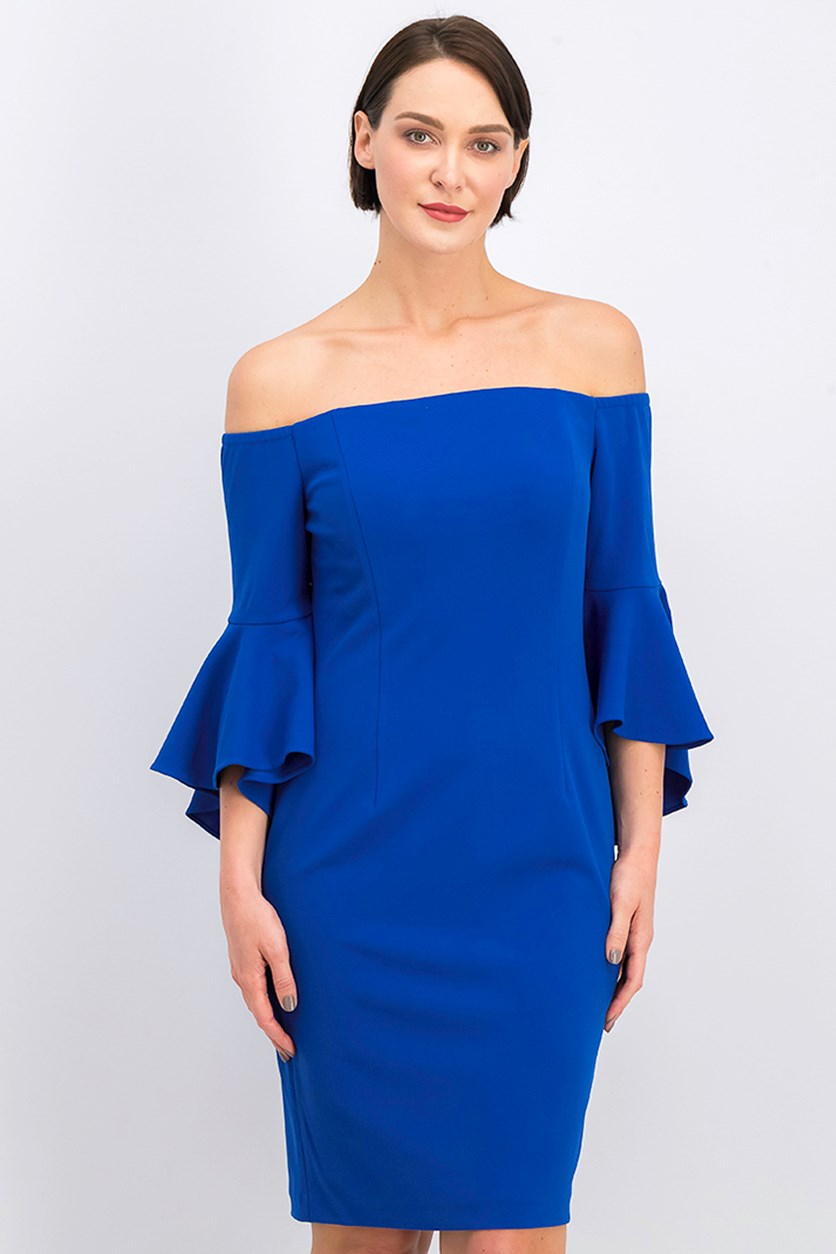 Women's Off-The-Shoulder Sheath Dress, Blue