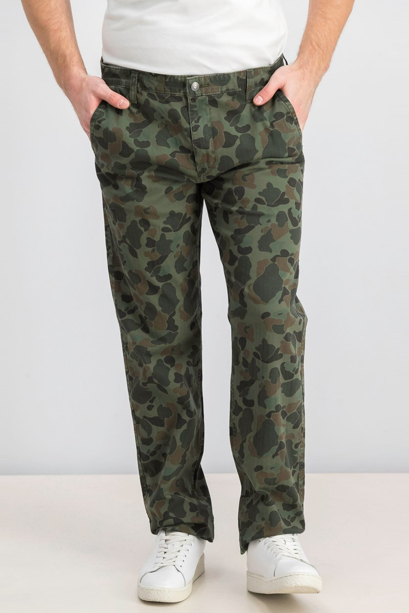 Men's Slim Tapered Fit Alpha Camo Pants, Olive/Green