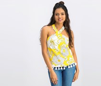 Trina Turk Women Tassel-Trim Crop Top, Sunshine/White