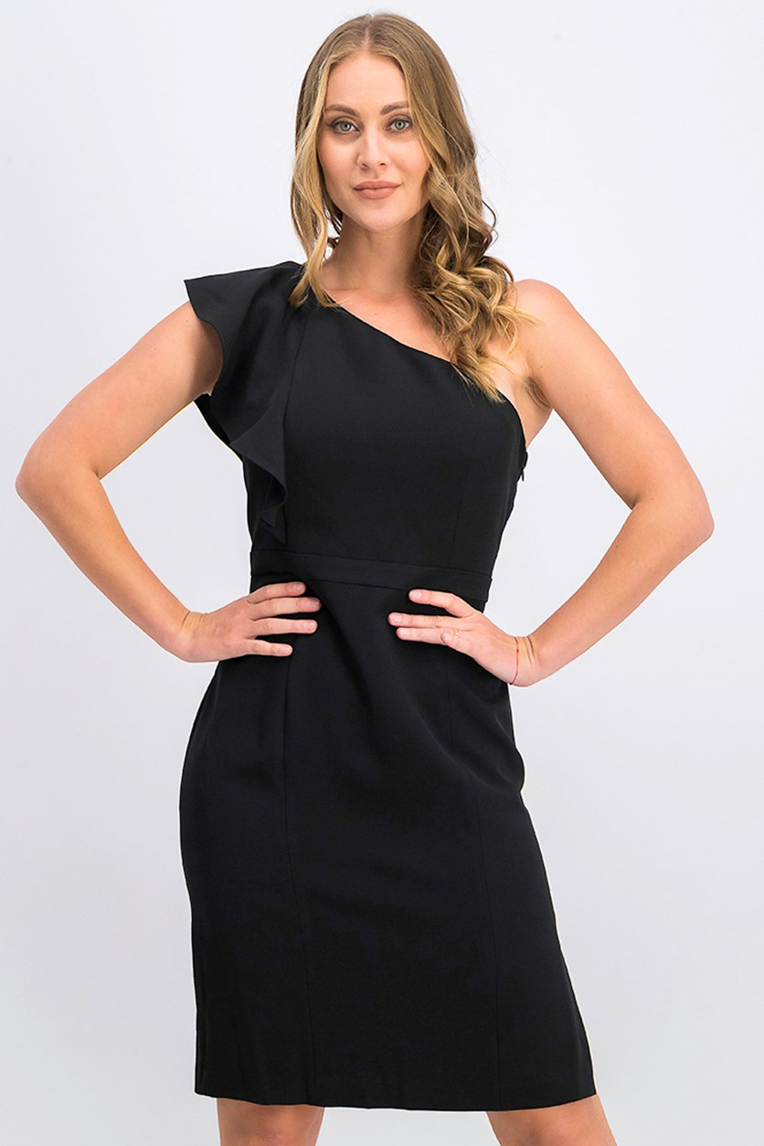Women's Ruffle One-Shoulder Dress, Black