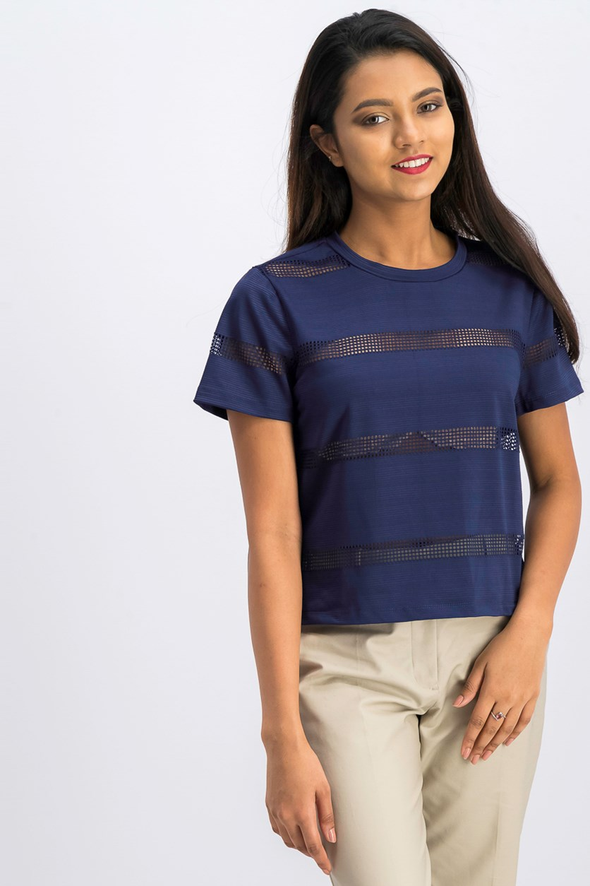 Gypsies & Moondust Juniors' Striped Mesh T-Shirt, Navy