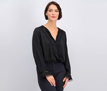 Gypsies And Moondust Women Lace & Satin Surplice Top, Black