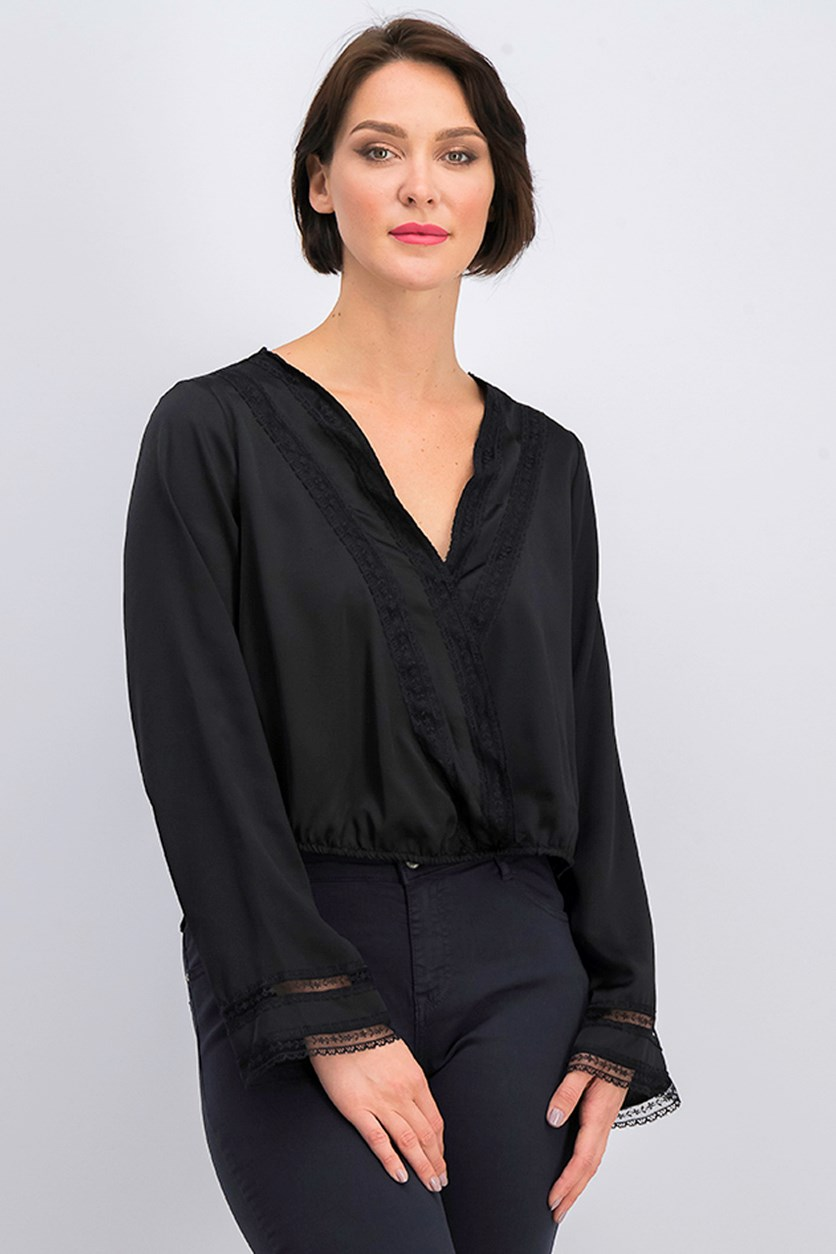 Women Lace & Satin Surplice Top, Black