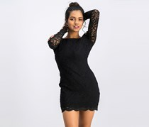 Jump Apparel Women's Imitation-Pearl & Lace Bodycon Dress, Black