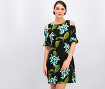 Tommy Hilfiger Floral Cold-Shoulder Jersey Dress, Black Combo