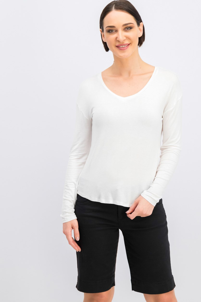 Women's V-Neck Top, Off White