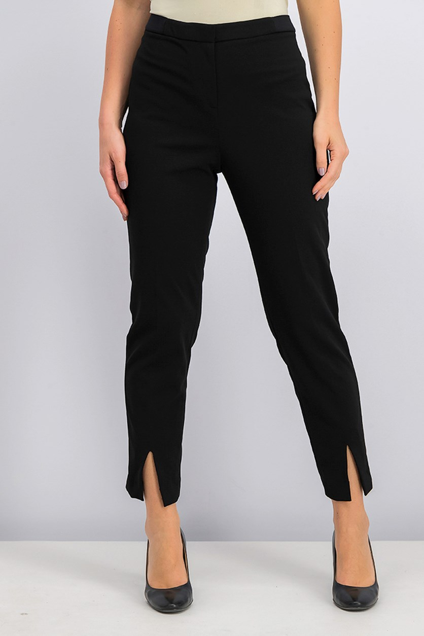 Women's Split-Hem Ankle Pants, Black