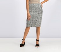 Calvin Klein Tweed Fringe-Trim Pencil Skirt, Black/White