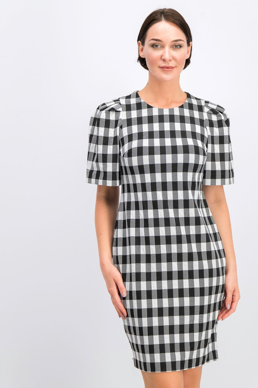 Checked Puff-Sleeve Sheath Dress, Black/Cream