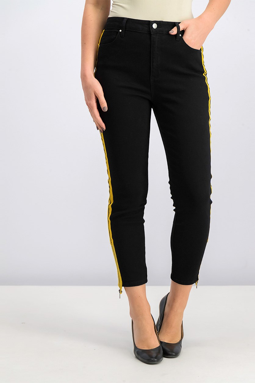 Juniors' Striped Skinny Jeans, Black/Yellow