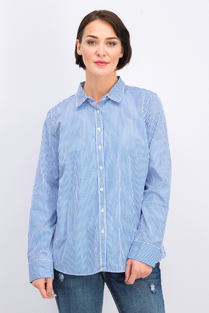Women's Stripe Polo Shirt, Blue/White