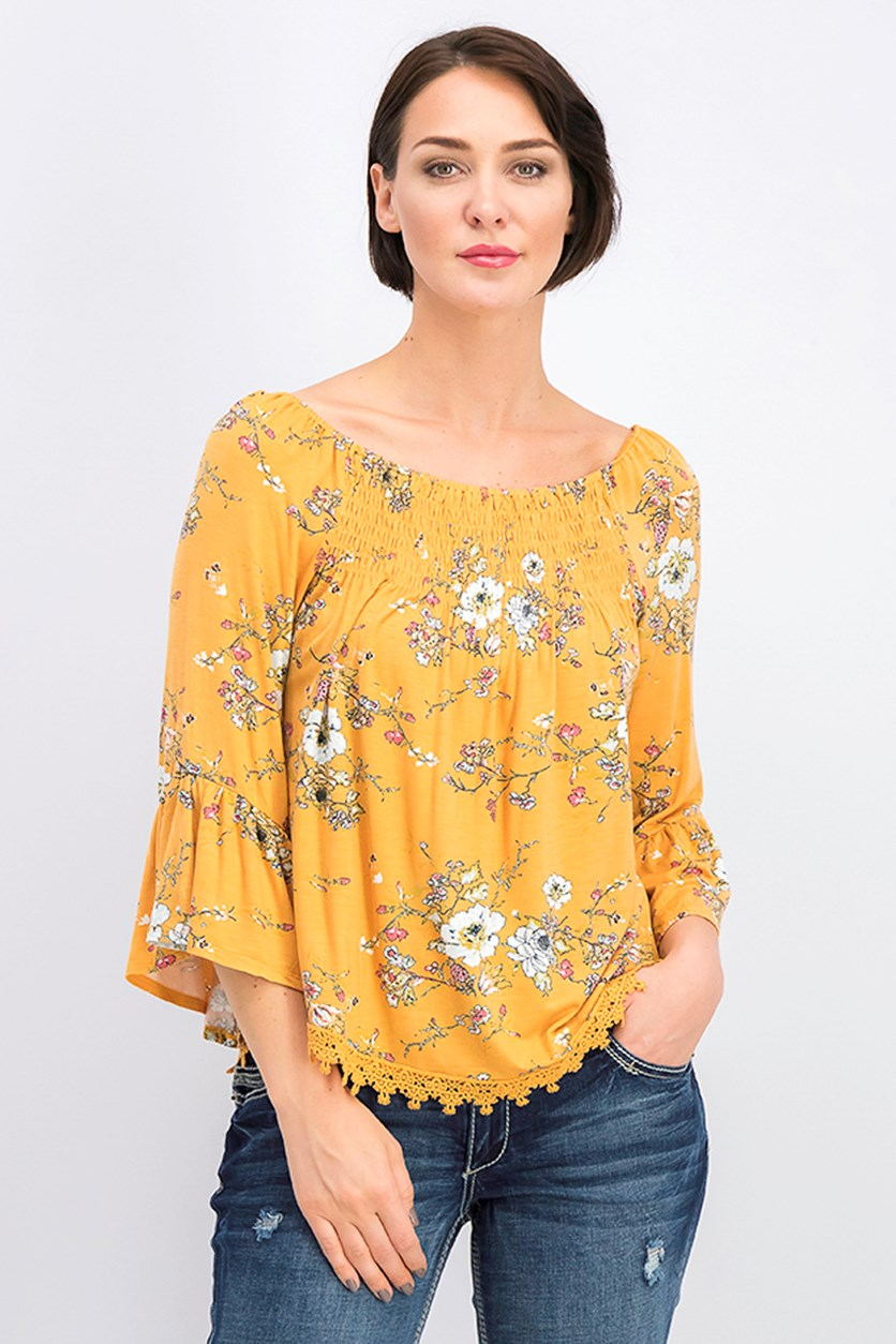 Women's Floral Top, Mustard Yellow Combo