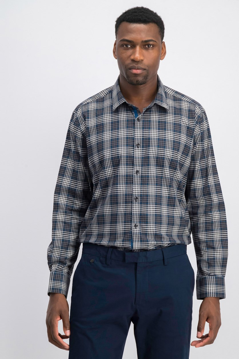 Men's Plaid Shirt, Grey/Blue