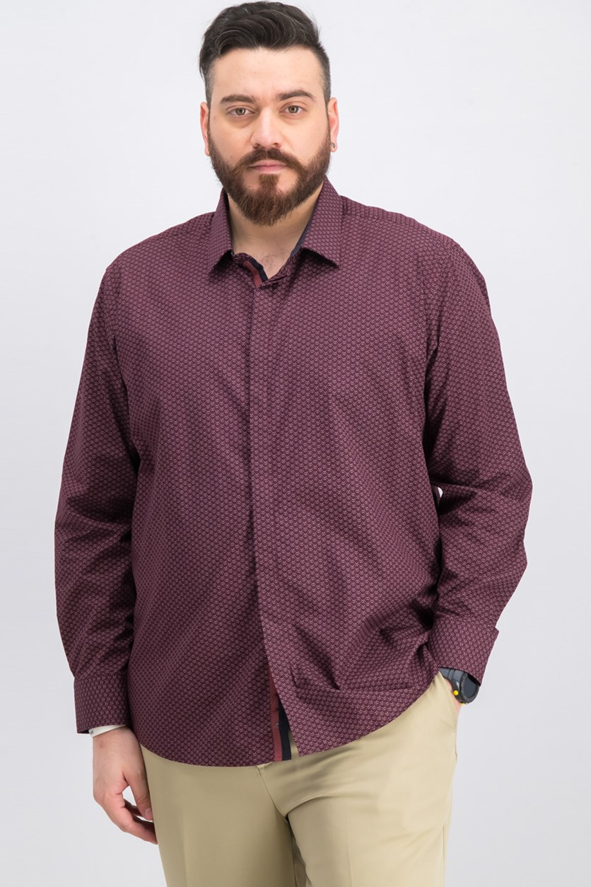 Men's Micro Tile Print Shirt, Maroon