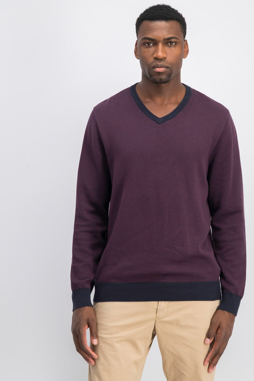 Men's Mixed Yarn V-Neck Sweater, Burgundy/Navy